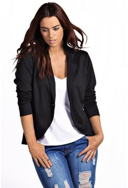 Womens Black Plus  One Button Ponte Blazer