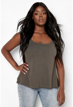 Khaki Plus Swing Cami Singlet