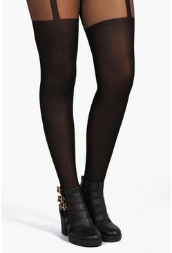 Womens Black Plus Mock Suspender Tights