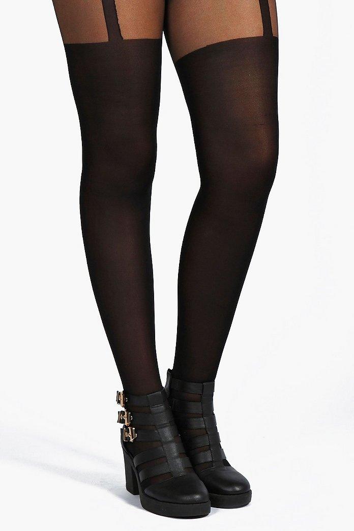 Ladies Mock Lace Suspender Tight Black M,L,XL