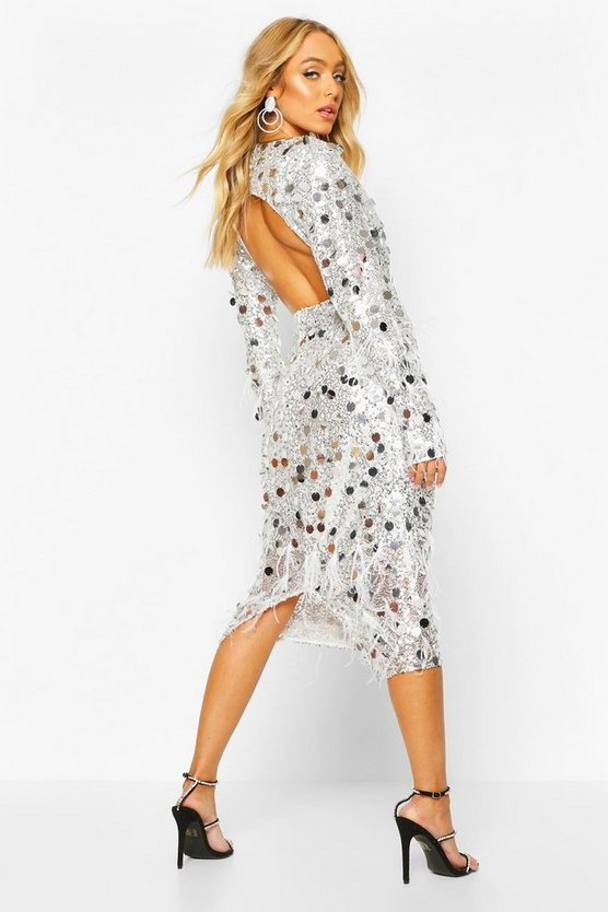 Premium Sequin And Feather Midi Dress