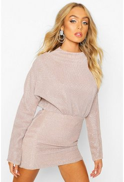 Mauve Glitter Pleated Batwing Bodycon Dress