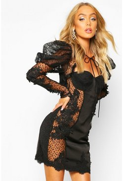 Womens Black Premium Lace Sheer Applique Puff Sleeve Dress