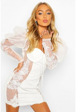 Premium Lace Sheer Applique Puff Sleeve Dress, Ivory, DAMEN