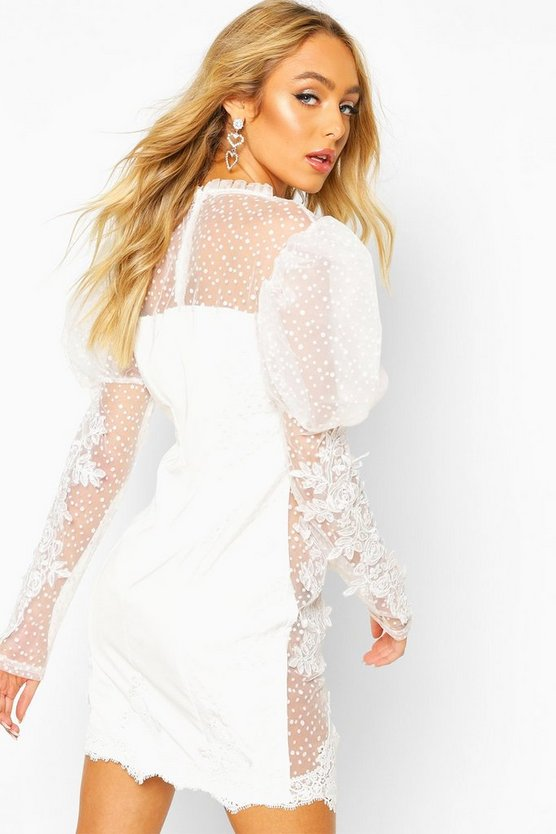 Premium Lace Sheer Applique Puff Sleeve Dress