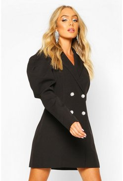 Black Premium Puff Sleeve Detail Blazer Dress