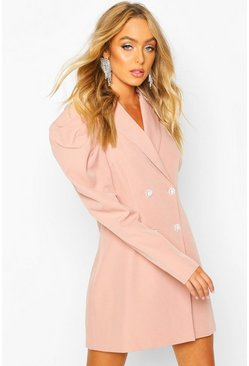 Premium Puff Sleeve Detail Blazer Dress, Blush, DAMEN