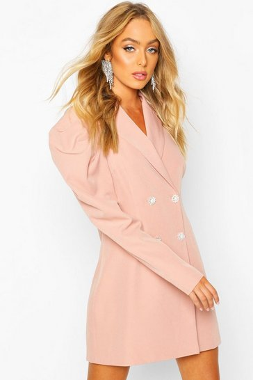 Womens Blush Premium Puff Sleeve Detail Blazer Dress