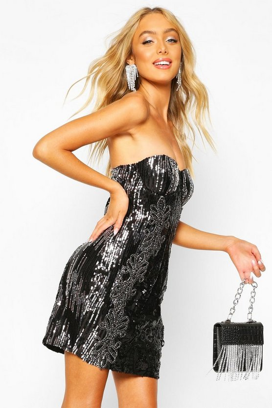 Womens Black Premium Sequin Embellished Bandeau Bodycon Dress