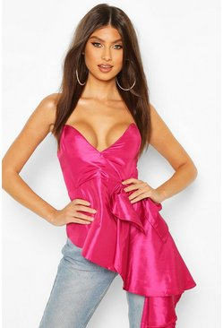 Hot pink Premium Taffeta Bandeau Asymetric Top