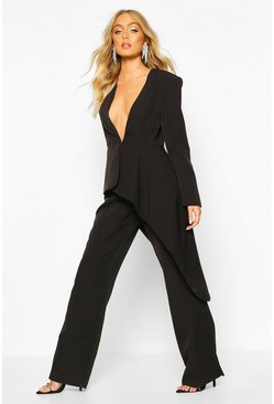 Premium Wide Leg Trouser, Black, Donna