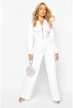 Premium Wide Leg Trouser, White, Donna