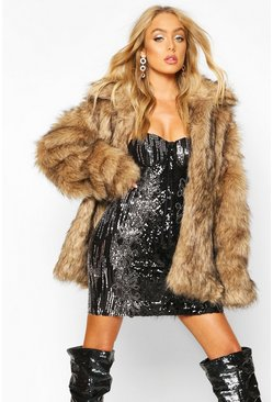 Brown Premium Faux Fur Coat