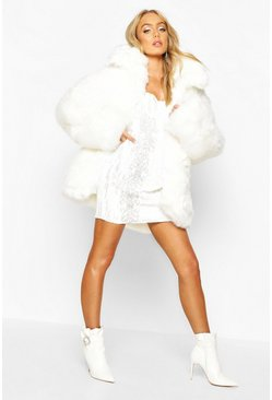 Womens White Premium Faux Fur Coat