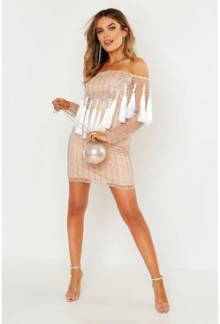 Womens Nude Premium Embellished Off The Shoulder Fringe Dress