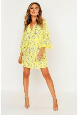 Womens Yellow Premium Hand Embellished Kimono Sleeve Dress