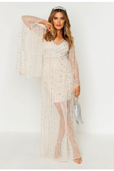 Womens Cream Premium Hand Embellished Kimono Sleeve Maxi Dress