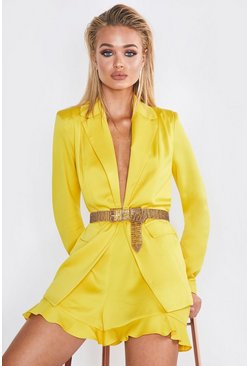Womens Yellow Premium Satin Frill Hem Short