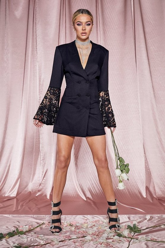 Womens Black Premium Lace Flared Sleeve Blazer Dress