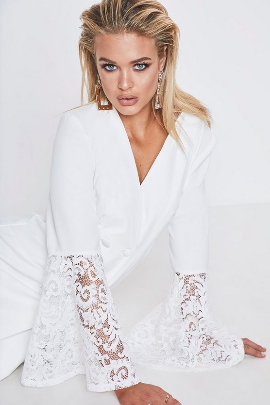White Premium Lace Flared Sleeve Blazer Dress