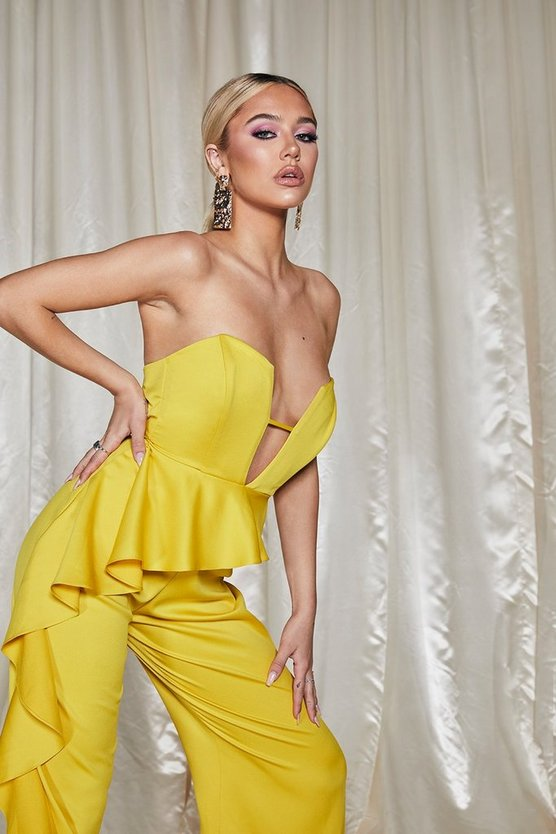 Womens Yellow Premium Satin V Front Frill Jumpsuit