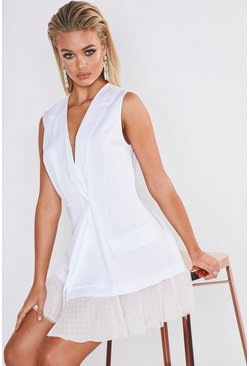 Womens White Premium Satin Dobby Mesh Hem Blazer Dress
