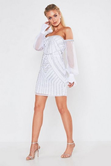 Womens White Premium Embellished Off The Shoulder Mini Dress