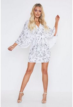White Premium Hand Embellished Kimono Sleeve Dress