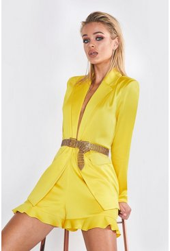 Womens Yellow Premium Satin Blazer Jacket