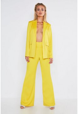Womens Yellow Premium Satin Wide Leg Trouser