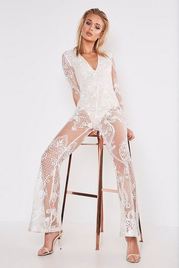 Womens White Premium Lace Kick Flare Jumpsuit