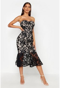 Womens Black Premium Lace Fishtail Midi Dress