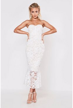 Womens White Premium Lace Fishtail Midi Dress