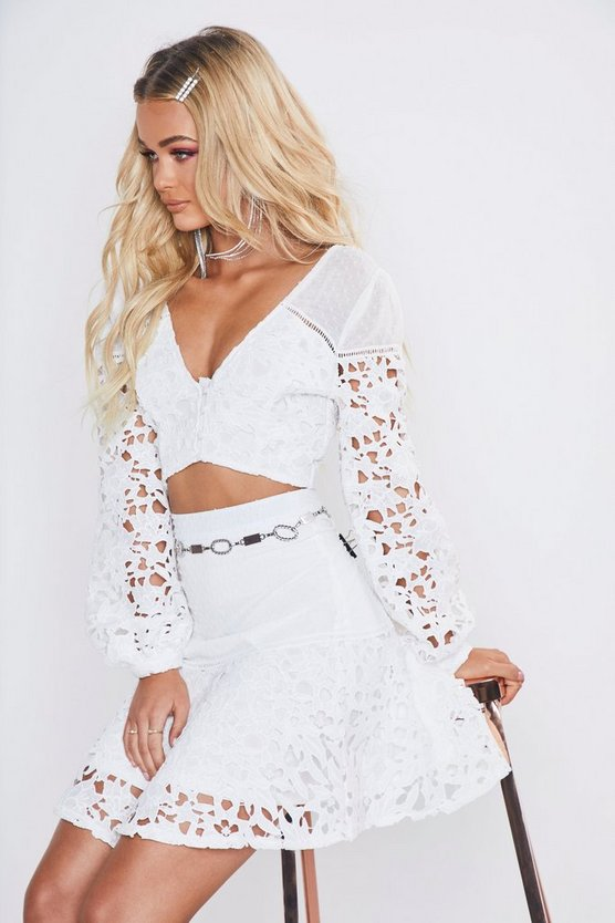 Womens White Premium Lace Dobby High Waisted Mini Skirt