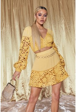 Yellow Premium Lace Dobby High Waisted Mini Skirt