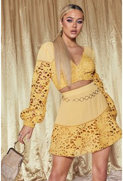 Womens Yellow Premium Lace Dobby Volume Sleeve Crop Top