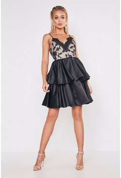 Womens Black Premium Lace Back Detail Tiered Skater Dress
