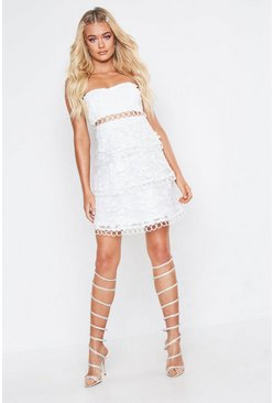 Womens White Premium Bandeau Lace Tiered Skater Dress