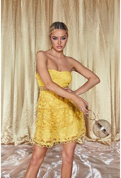 Womens Yellow Premium Bandeau Lace Tiered Skater Dress