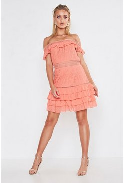 Coral Premium Dobby Mesh Off The Shoulder Frill Mini Dress