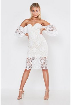Womens White Premium Flared Sleeve Lace Midi Dress