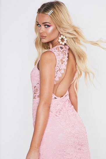 Womens Pink Premium Cut Out Back Lace Fishtail Midi Dress