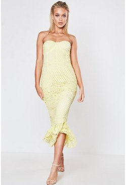 Womens Yellow Premium Lace Bandeau Fishtail Midi Dress