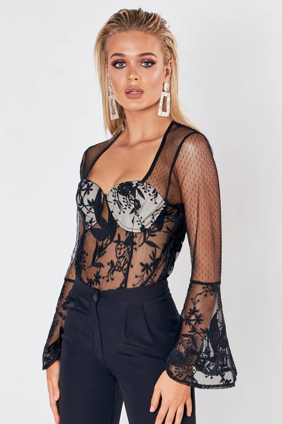 Womens Black Premium Lace Wrapped Flare Sleeve Bodysuit