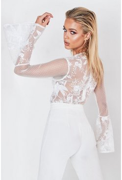 Dam White Premium Lace Wrapped Flare Sleeve Bodysuit