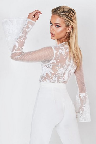 Womens White Premium Lace Wrapped Flare Sleeve Bodysuit