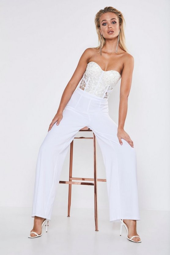 Womens White Premium Cupped Lace Up Wide Leg Jumpsuit