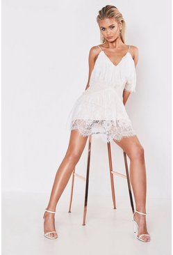 Womens White Premium Strappy Lace Frill Hem Mini Dress