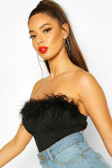 Womens Black Premium Feather Trim Cupped Bralet