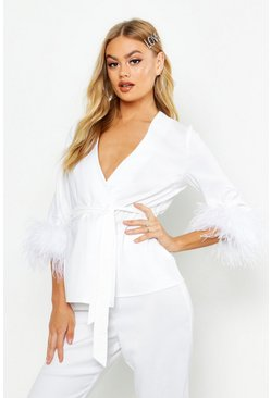 Dam White Premium Feather Trim Blazer Jacket